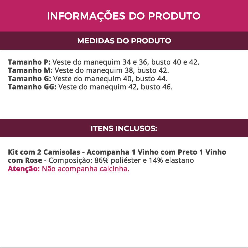 (Kit-V117) - 2 Camisolas em Microfibra e Renda 1 Vinho com Preto e 1 Vinho com Rose - DR167