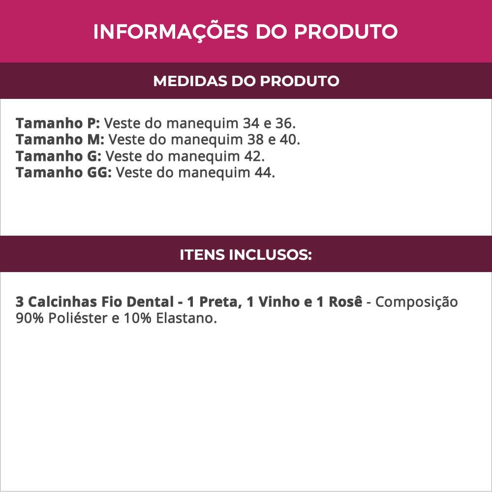 (KIT-V124) - 3 Calcinhas Fio Dental 1 Preta 1 Vinho e 1 Rose - MF1244