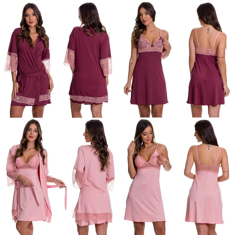(KIT-V128) - 2 Camisolas Amamentação com Robe 1 Vinho com Rosê e 1 Rosê - DR202-301