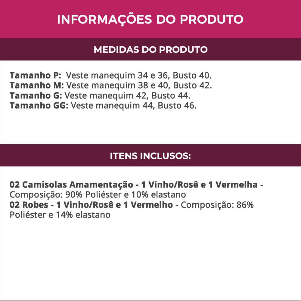 (KIT-V129) - 2 Camisolas Amamentação com Robe 1 Vermelha e 1 Vinho com Rosê - DR202-301