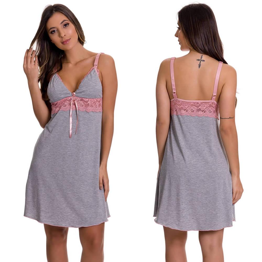 (KIT-V130) - Camisola Amamentação com Robe Cinza com Rosê + Camisola Amamentação Rosê - ES220-221-ES206