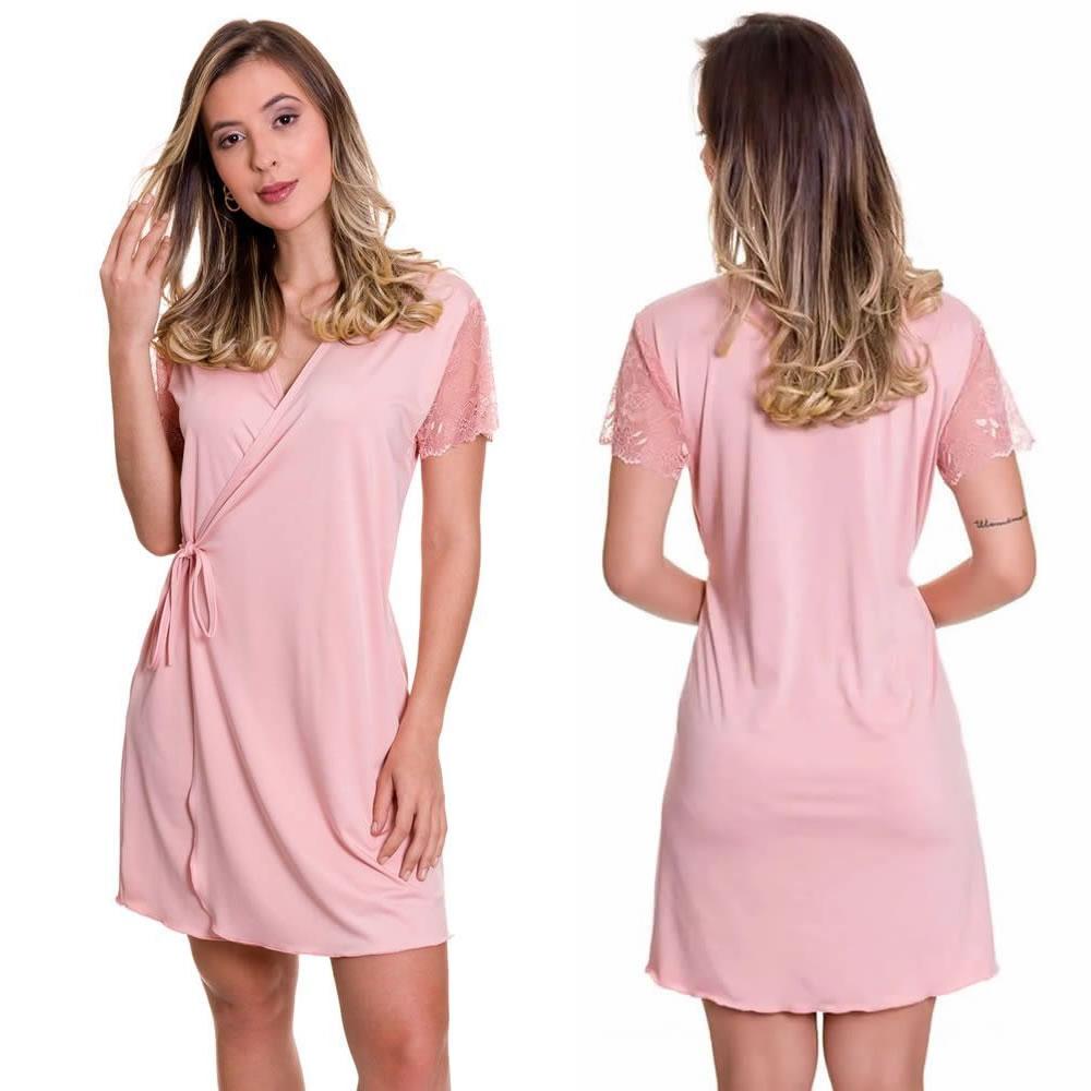 (KIT-V134) - Camisola Amamentação com Robe Rosa  + Sutiã Amamentação Rosê - ES206-207-DM523