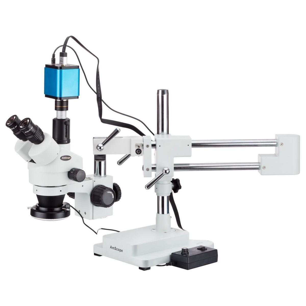 Microscópio Zoom estéreo Trinocular 3.5X-45X com suporte de braço duplo + 144-LED