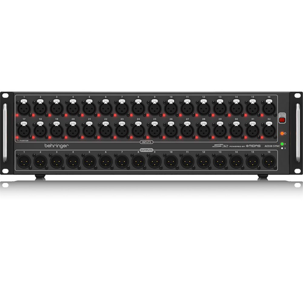 Behringer S32 32-Channel Digital Snake 16 Xlr Outputs Midas Mic Preamps Usb Midi