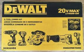 Kit 5 Ferramentas Dewalt DCK520D2 20v MAX Lithium-Ion Drill Impact