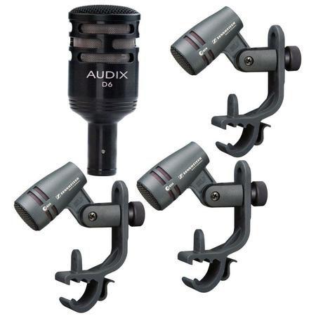 Kit Microfone Audix D6 Dynamic Kick Drum Sennheiser + 3 E604
