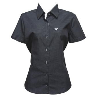 Camisa preta boladinha fem. manga curta  - Grife Valley