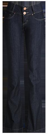 Calça fem. jeans escuro flear  - Grife Valley