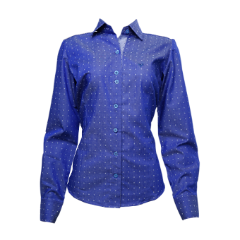 Camisa fem. azul estampada  - Grife Valley