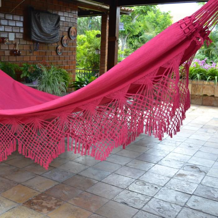 Rede de Dormir Jeans Com Varanda Macramé