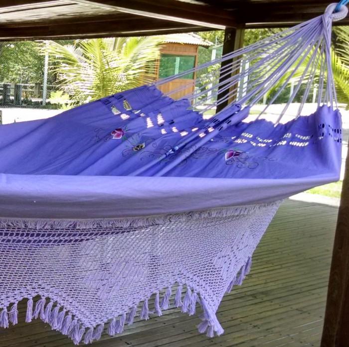 Rede de Dormir Sol a Sol  Caseada Varanda Crochê