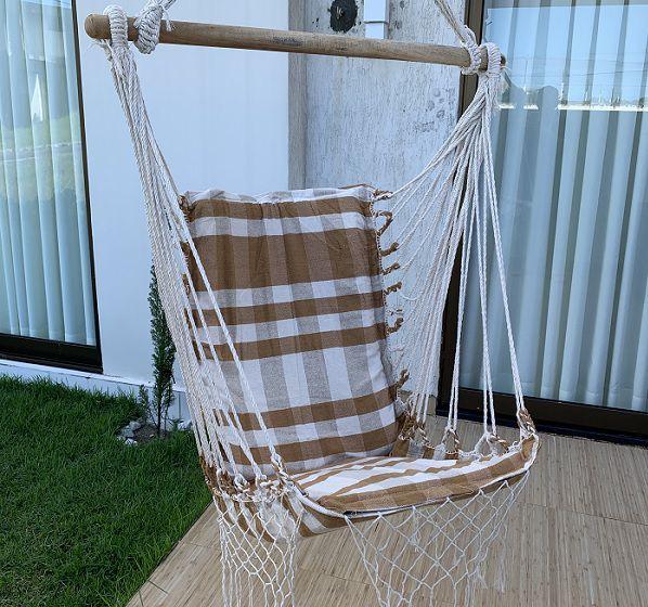 Rede Cadeira Listrada Caramelo com Bege