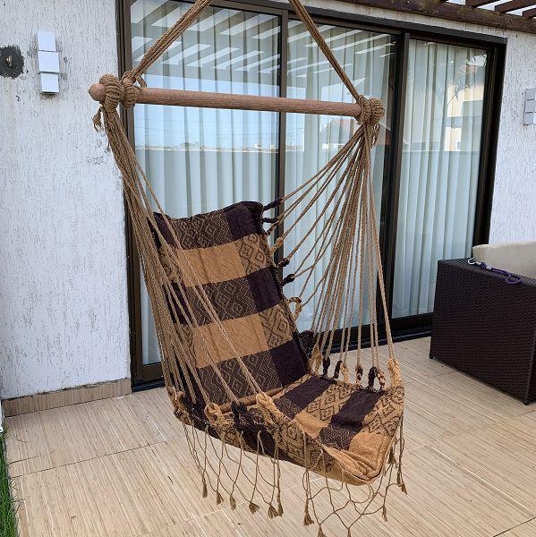 Rede Cadeira Listrada Caramelo com Marrom