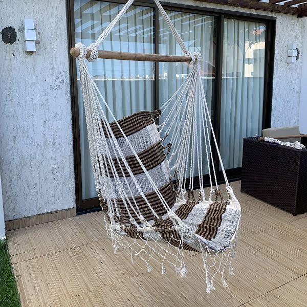 Rede Cadeira Listrada Chocolate com Bege