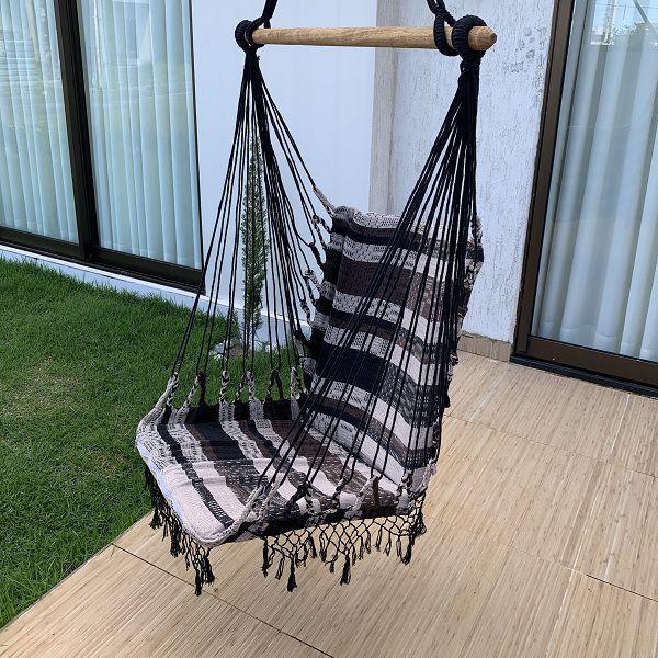 Rede Cadeira Listrada Marrom Preto e Bege