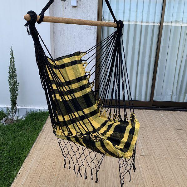 Rede Cadeira Listrada Preto com Amarelo