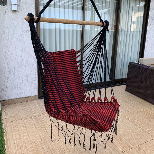 Rede Cadeira Listrada Preto com Vermelho