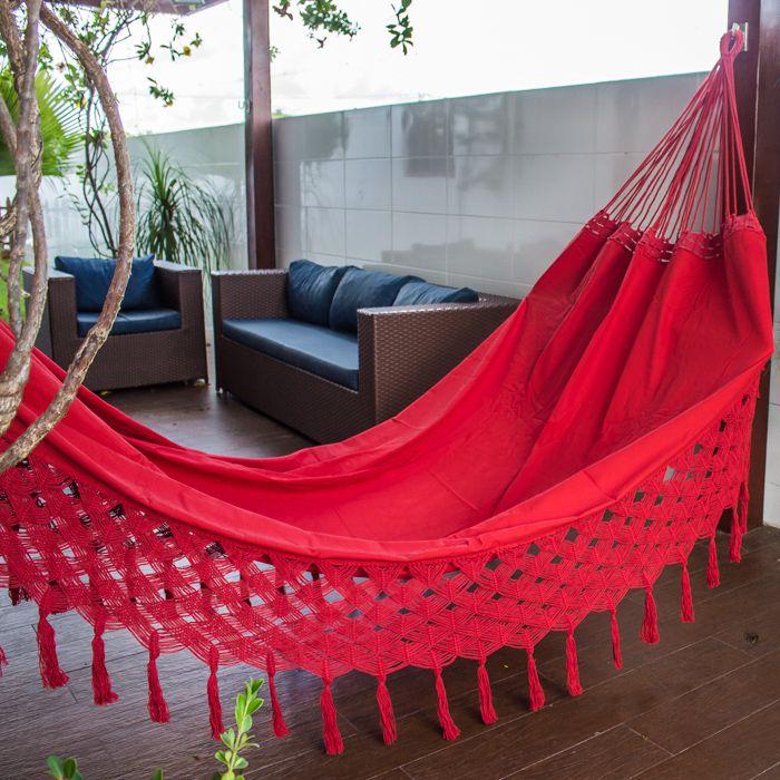 Rede de Dormir Casal Sol a Sol Vermelha