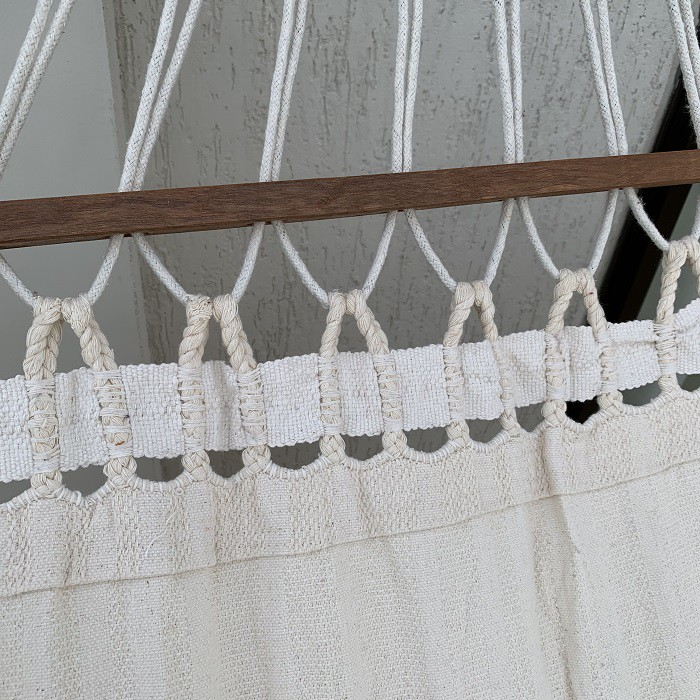 Rede de Dormir com Madeiras Varanda Macramé