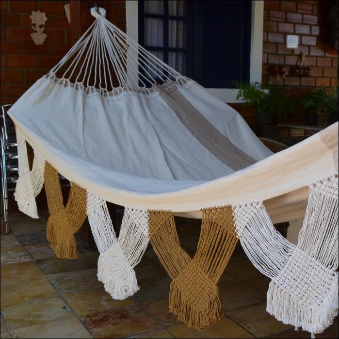 Rede de Dormir e Descansar Casal Algodão com Varanda Morangão