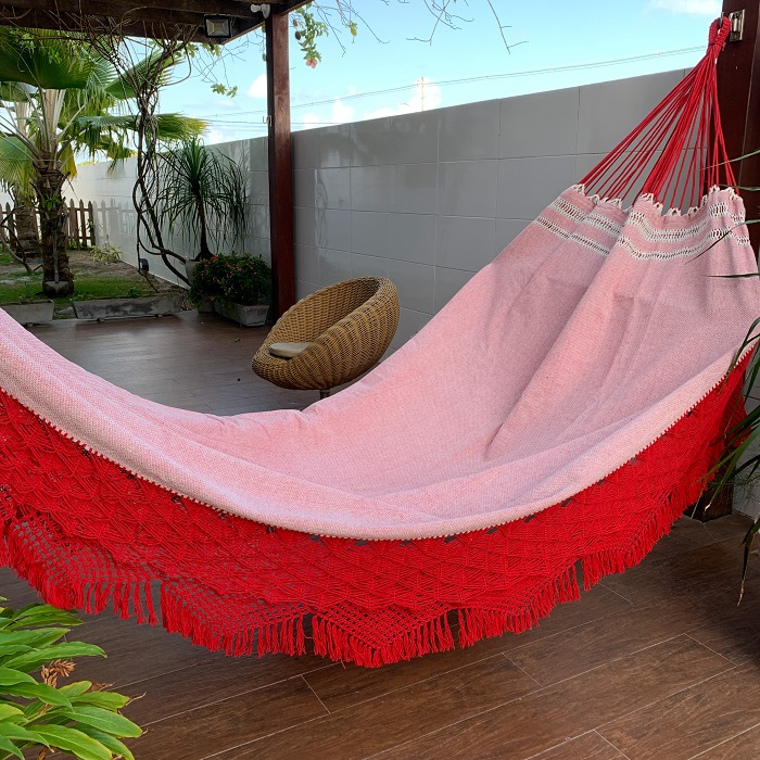 Rede de Dormir e Descansar Casal Algodão Vermelho Varanda Top