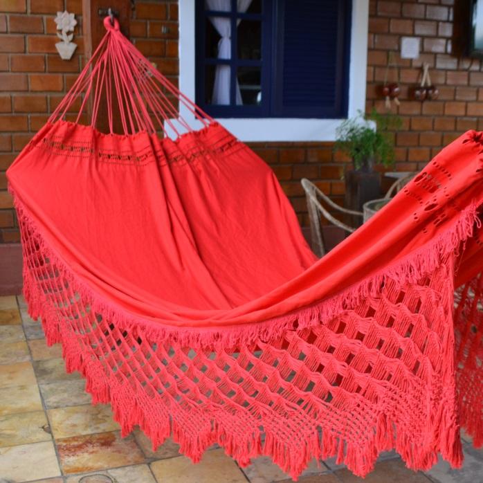 Rede de Dormir e Descansar Casal Sol a Sol Varanda de Capas Vermelha