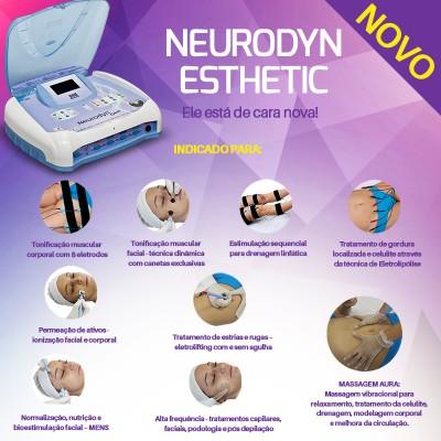 Neurodyn Esthetic - NOVO - Aparelho 9 em 1 (8 Terapias + Massagem AURA em 1 Único Aparelho) - HB FISIOTERAPIA