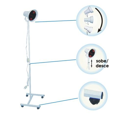 Suporte Pedestal IV-05 p/ Lâmpada de Infra Vermelho c/ Refletor Móvel e Regulagem de Altura  - HB FISIOTERAPIA
