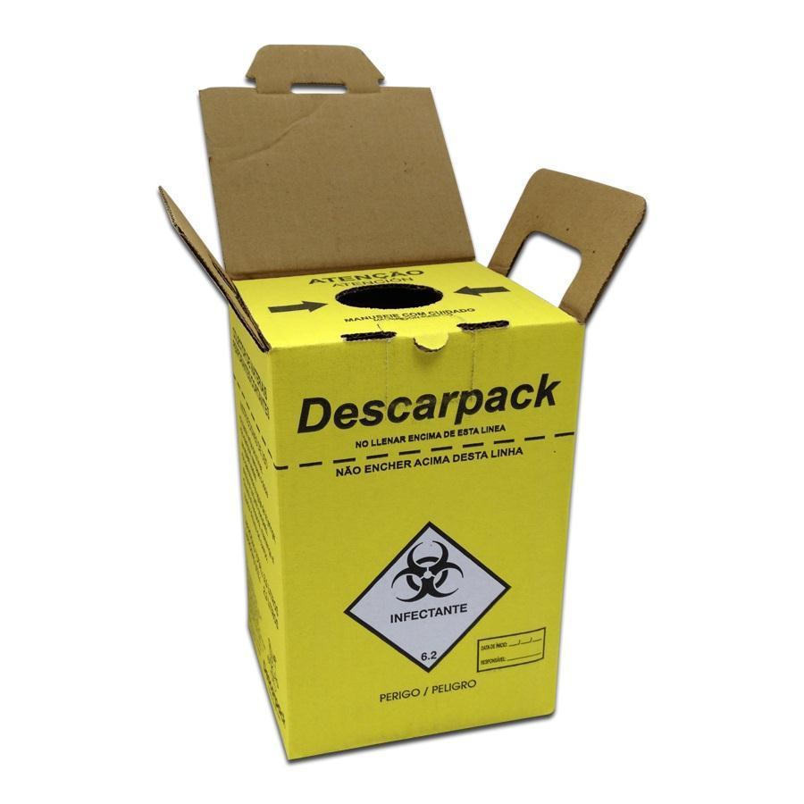 Caixa Coletora 3  litros (Perfuro Cortante) DESCARPACK  - HB FISIOTERAPIA