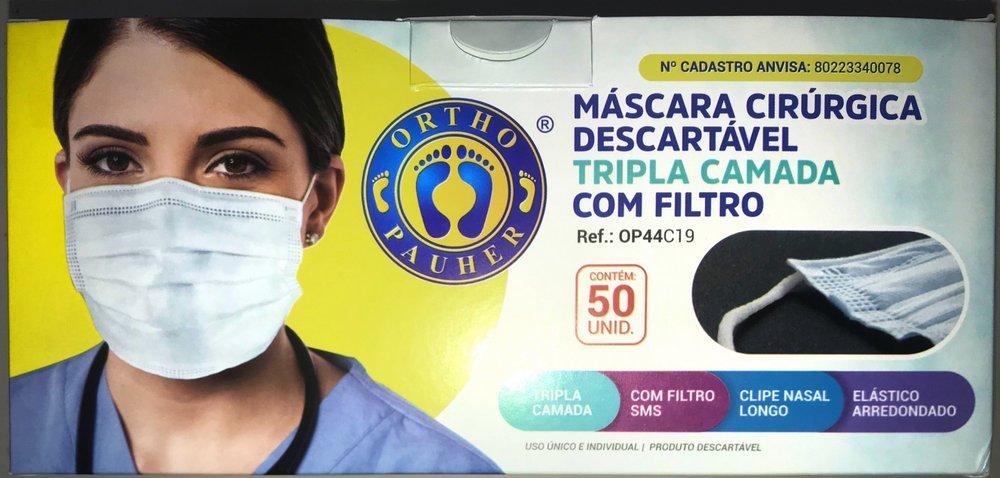 Máscara Cirúrgica Descartável Tripla- Ortho Pauher  - HB FISIOTERAPIA