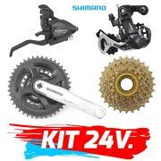 Kit 24 velocidades, trocador, roda livre, engrenagem câmbio