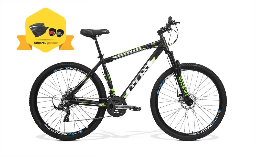 Bicicleta GTS Aro 29 Freio a Disco Câmbio Shimano 24 Marchas e Amortecedor + Bolsa de Selim + Sinalizador | GTS M1 Obstaculo 2.0