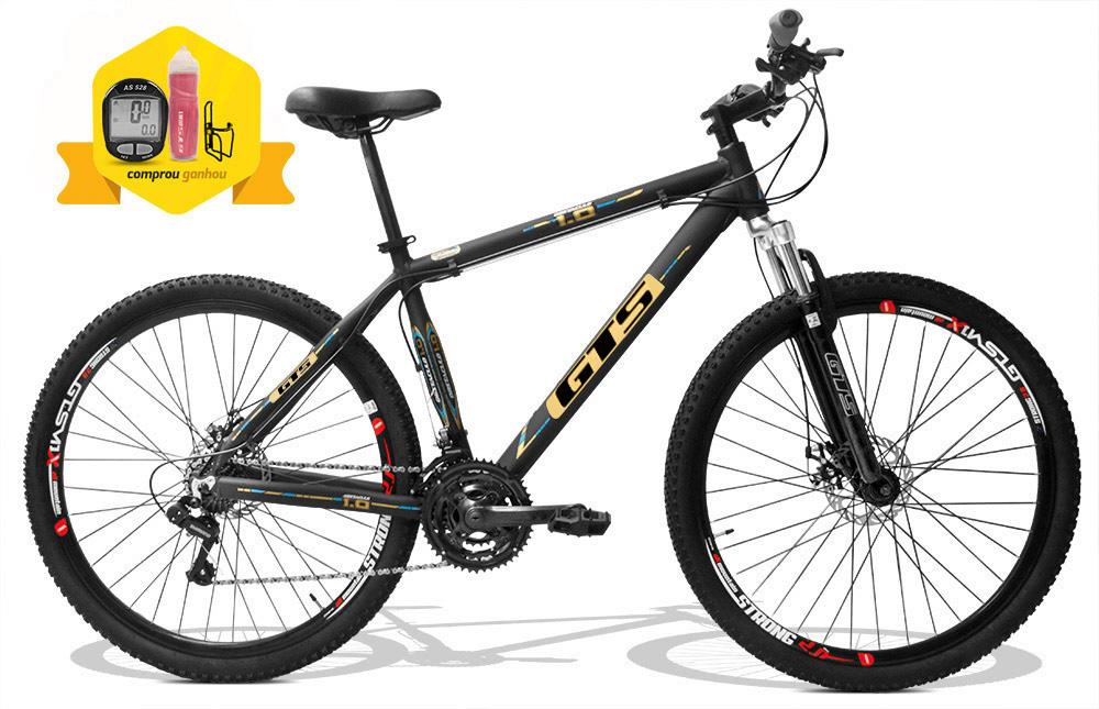Bicicleta GTS Aro 29 Freio a Disco Câmbio Traseiro Shimano 24 Marchas e Amortecedor + Velocímetro e Squeeze com Suporte de Brinde   GTS M1 Obstaculo 1.0