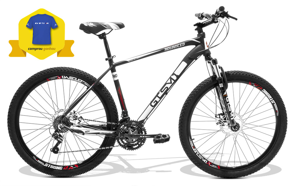 Bicicleta GTS Aro 27.5 Freio a Disco Câmbio Shimano 24 Marchas, Amortecedor e Camiseta de Brinde | GTS M1 Advanced New
