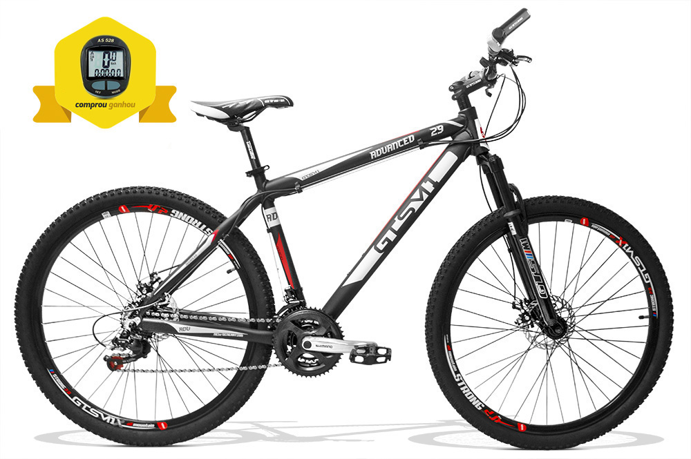 Bicicleta gtsm1 Advanced New aro 29 freio a disco kit shimano 21 marchas + Brinde Ciclo Computer