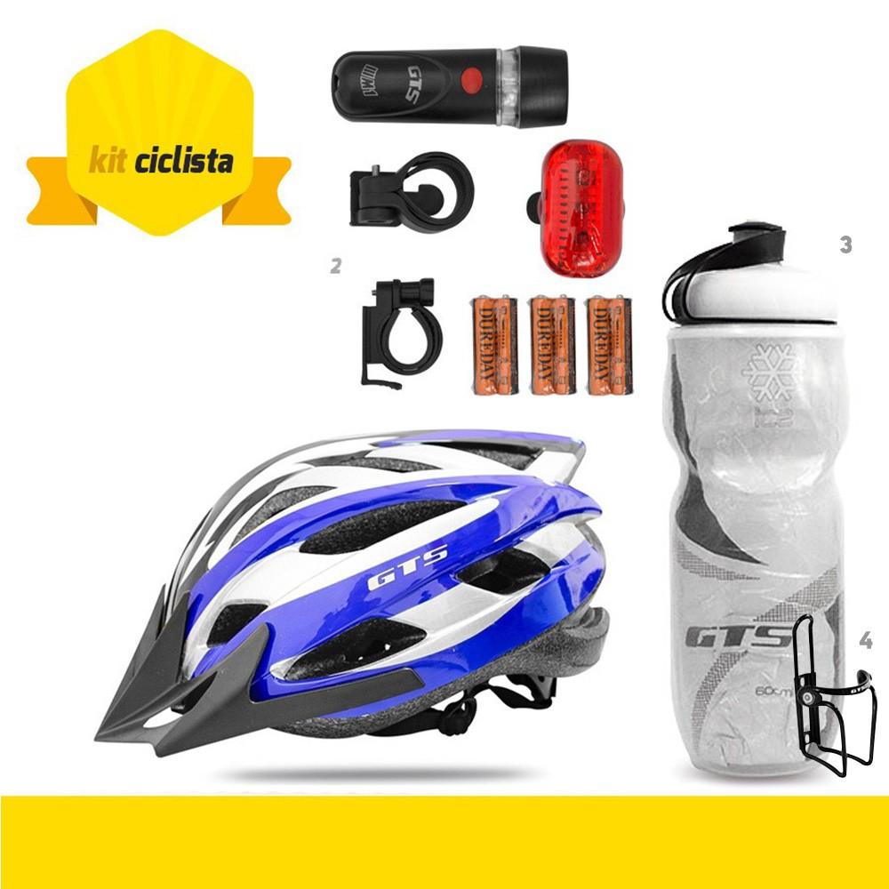 Kit Ciclista GTSM1 - Capacete Confort + Squeeze Térmica + Suporte Squeeze + Lanterna Dianteira e Traseira