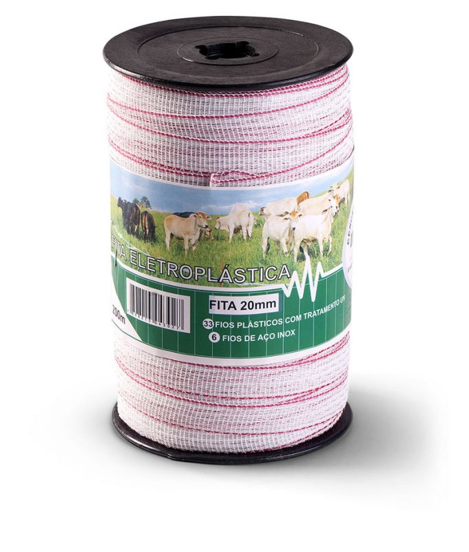 Fita Eletroplástica Branca Zebu 20mm x 200 metros  - Curto Compras Rural