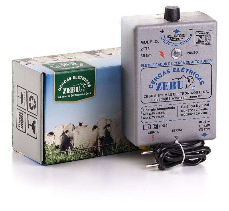 Eletrificador de Cerca Elétrica Rural Zebu 2TT3 35km 220v  - Curto Compras Rural