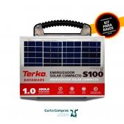 Eletrificador de Cerca Rural Solar Compacto Terko S100 com Painel Solar, Bateria e Controlador de Carga