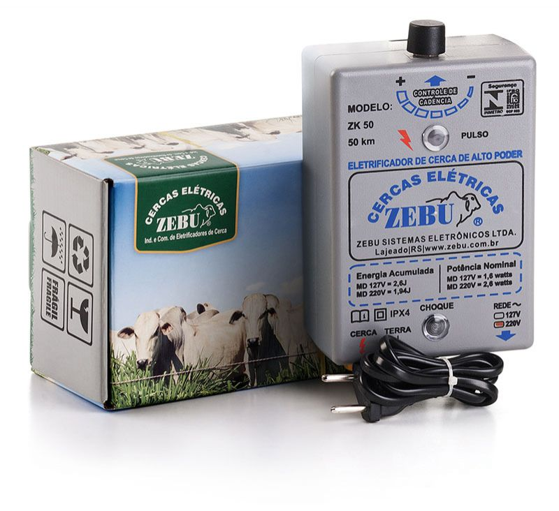 Eletrificador de Cerca Rural Zebu ZK50 50km 220V  - Curto Compras Rural