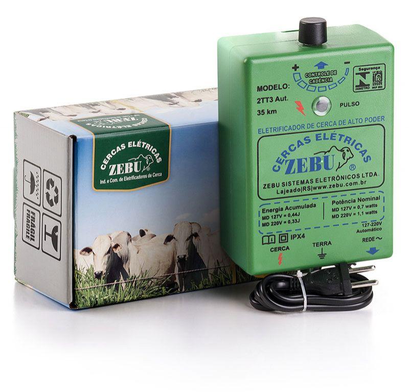 Eletrificador de Cerca Elétrica Rural Zebu 2TT3 35km 127/220v  - Curto Compras Rural