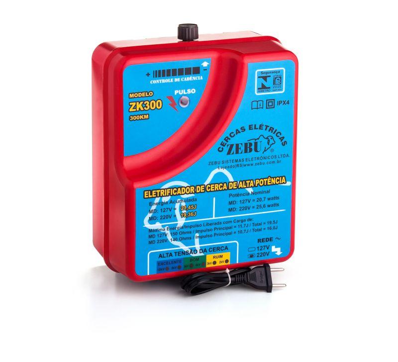 Eletrificador de Cerca Elétrica Rural Zebu ZK300 300Km  - Curto Compras Rural