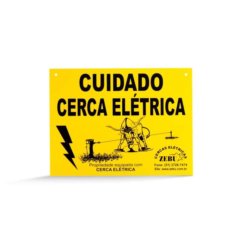 Placa Cuidado Cerca Elétrica  - Curto Compras Rural
