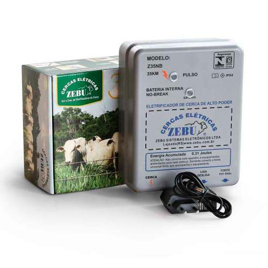 Eletrificador de Cerca Elétrica Rural Zebu Z35NB 127v/220v Bateria Interna  - Curto Compras Rural