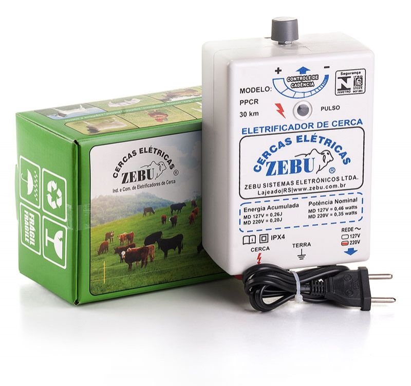 Eletrificador de Cerca Elétrica Rural Zebu PPCR 30km 127V  - Curto Compras Rural