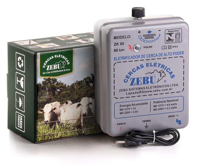 Eletrificador de Cerca Rural Zebu ZK80 80km 127v/220v Bivolt  - Curto Compras Rural