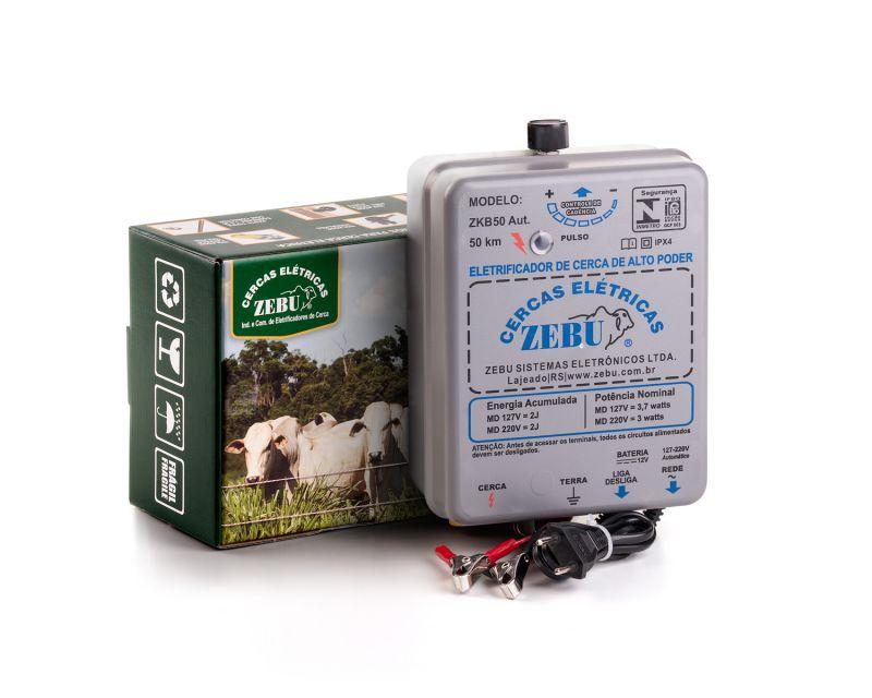 Eletrificador de Cerca Rural Zebu ZKB50 50km 127/220V ou Bateria 12V  - Curto Compras Rural