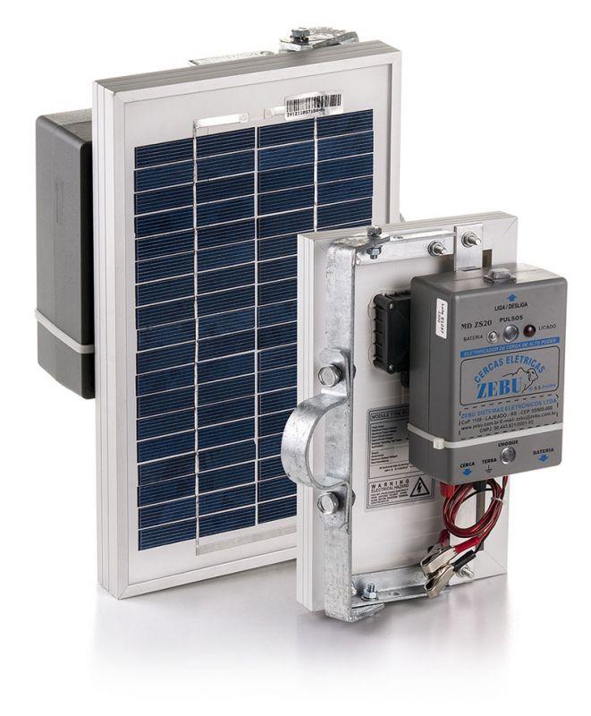 Eletrificador de Cerca Elétrica Rural Solar Zebu ZS20 35km  - Curto Compras Rural