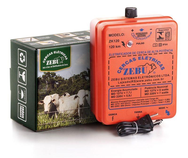 Eletrificador de Cerca Elétrica Rural Zebu ZK120 120km 127V  - Curto Compras Rural