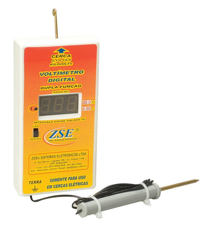 Voltímetro Digital 9V para Cerca Elétrica Rural Zebu  - Curto Compras Rural
